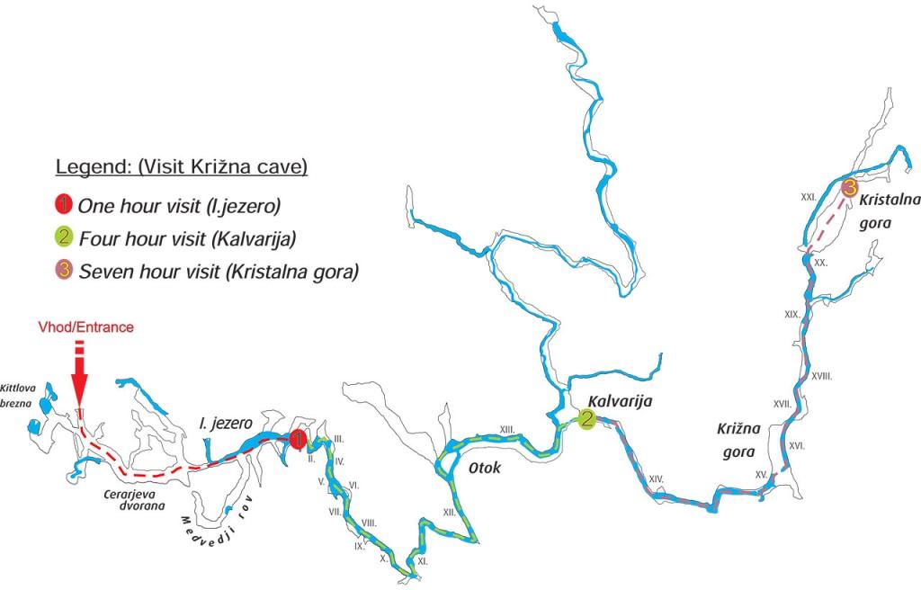 Zemljevid možnih ogledov v Križni jami